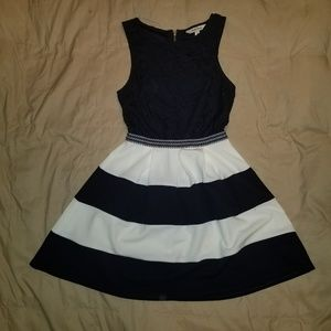 Navy blue and white semi formal dress